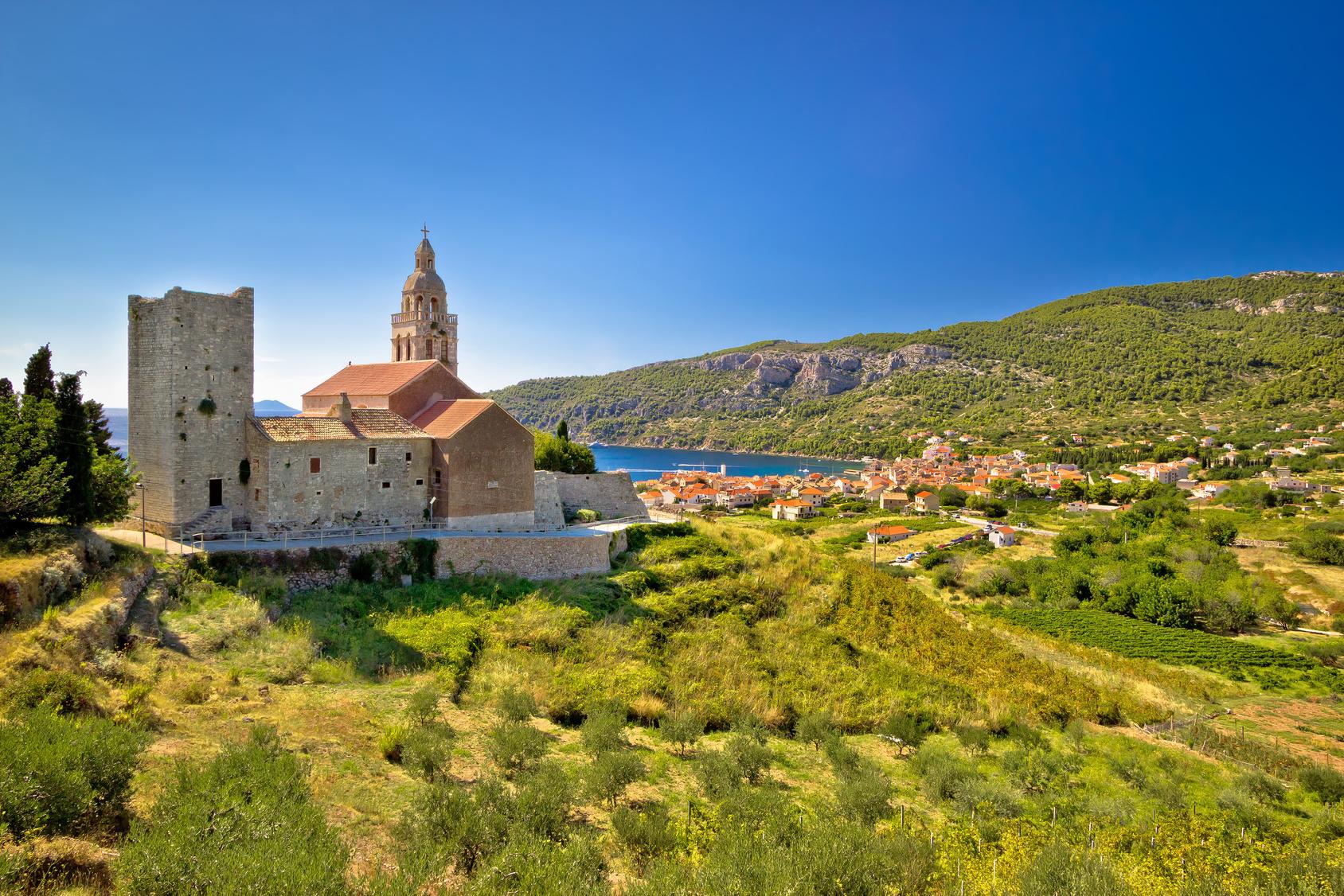 Town of Komiza on Vis island view, Dalmatia, Croatia