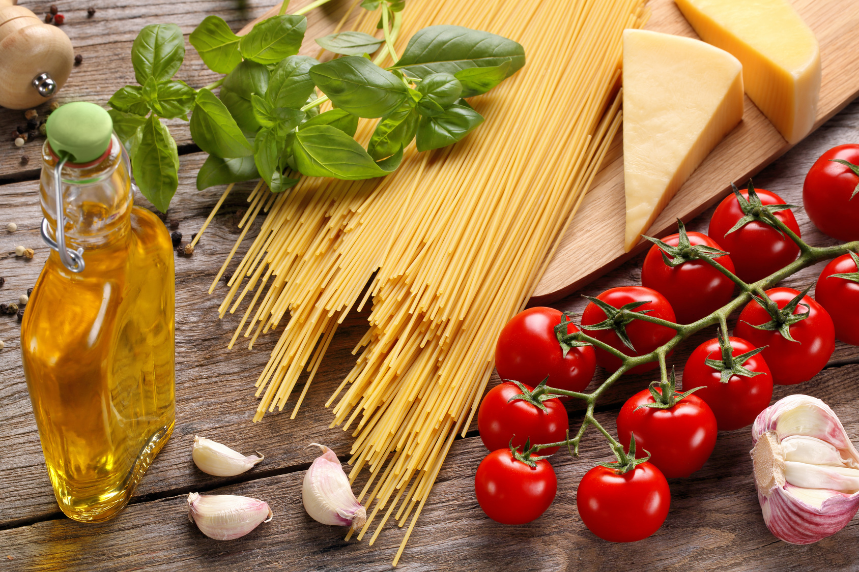 Italian food ingredients on wooden background