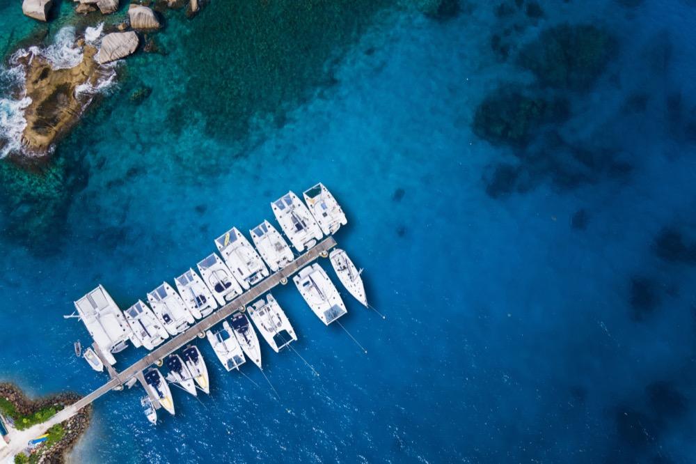 Sailboats, catamarans from above