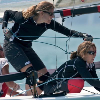 Two women on a yacht wearing kneepads