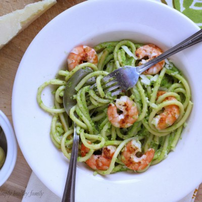 Prawn and green noodles