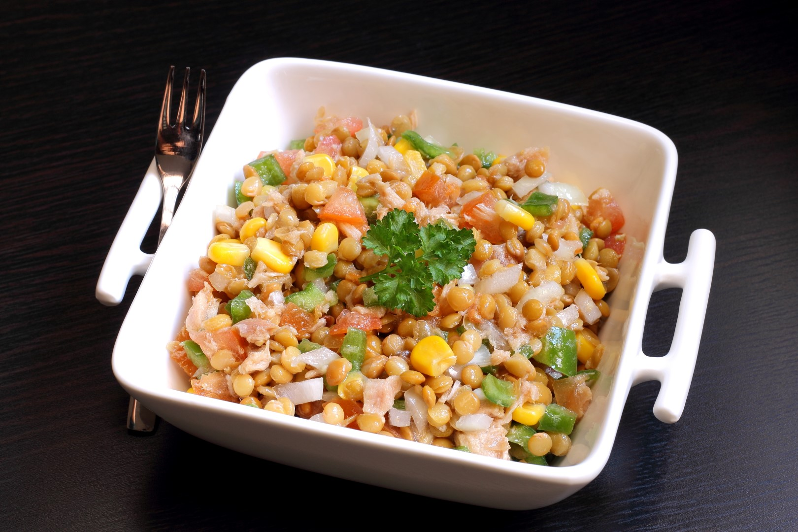Lentil_salad_tuna_tomatoes_onions_peppers_corn