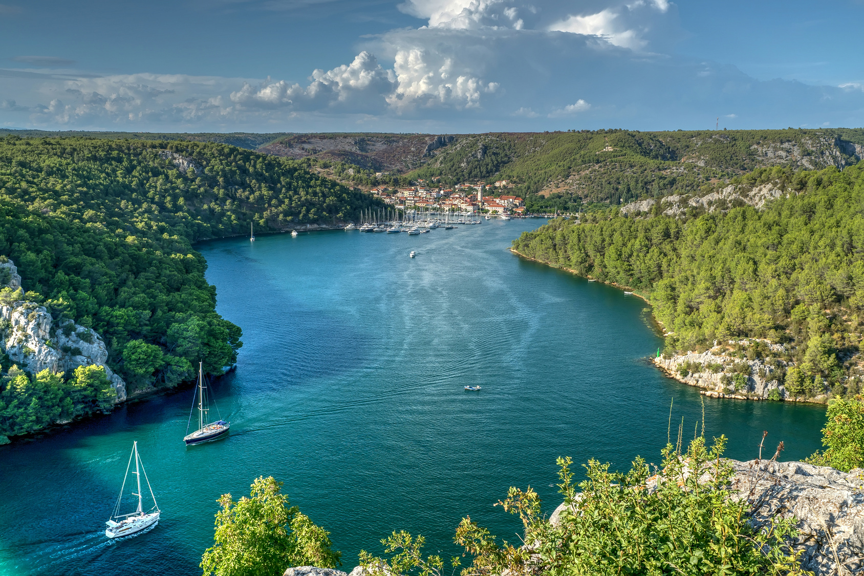View on Krka river and Skradin city from the rock