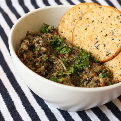 A plate with tapenade