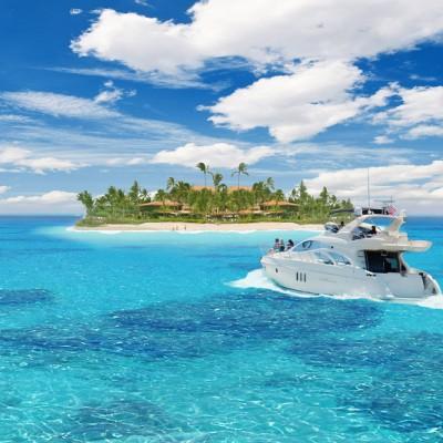 A Caribbean island and a yacht