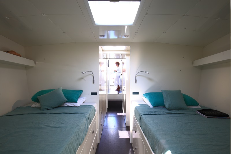 A cabin on a Vismara yacht