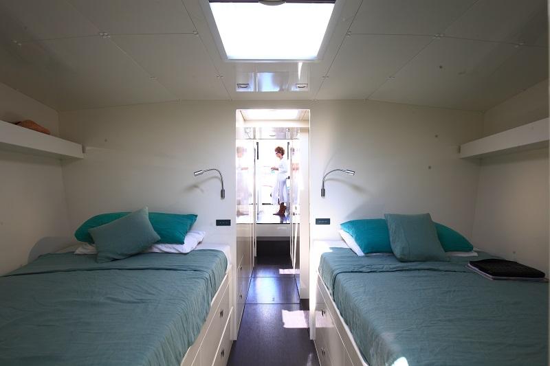 A cabin on a Vismara yacht
