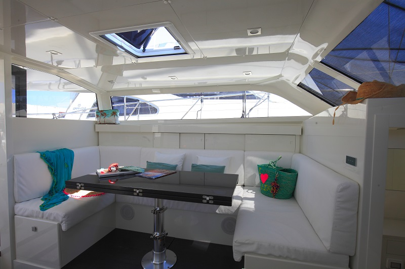 The saloon in a Vismara yacht
