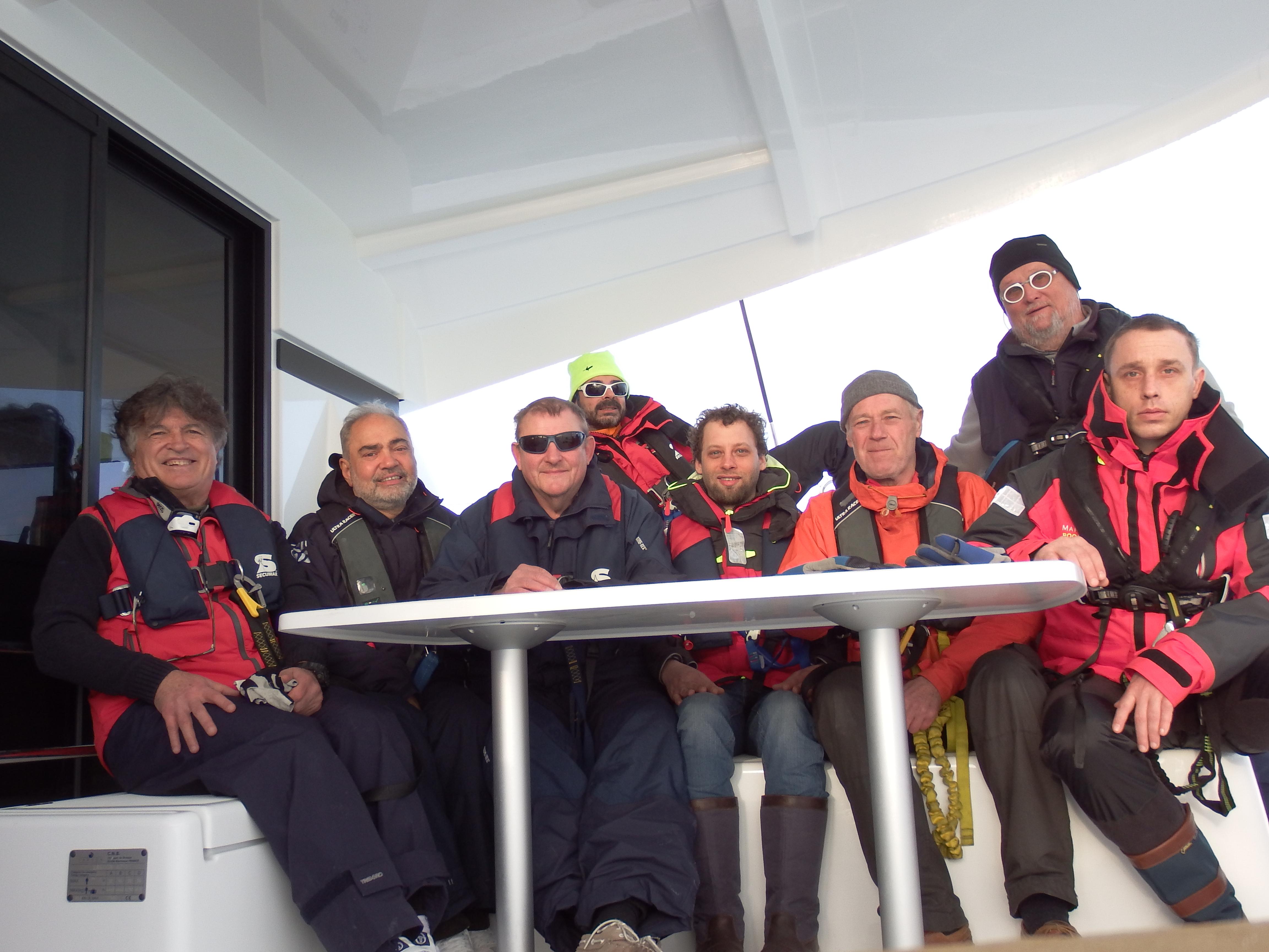 Skippers on catamaran