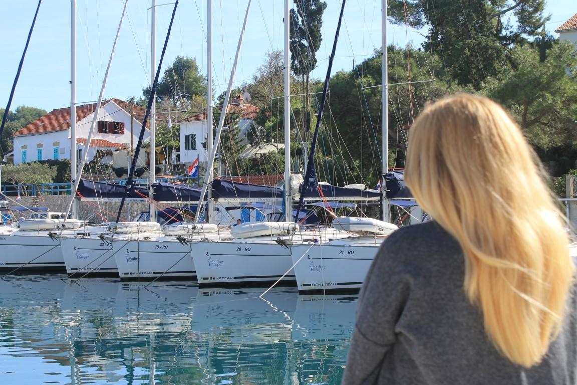 Sailing yachts in the marina