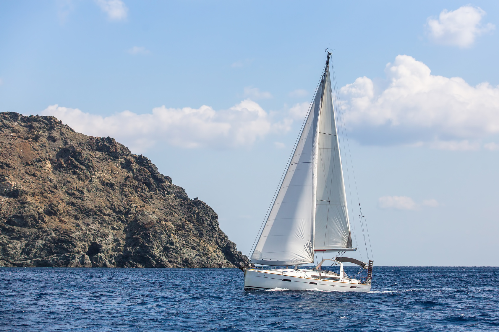 Boats in sailing regatta at Aegean Sea. Luxury yachts.