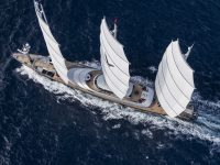 One of the most famous sailboats Maltese Falcon from the sky