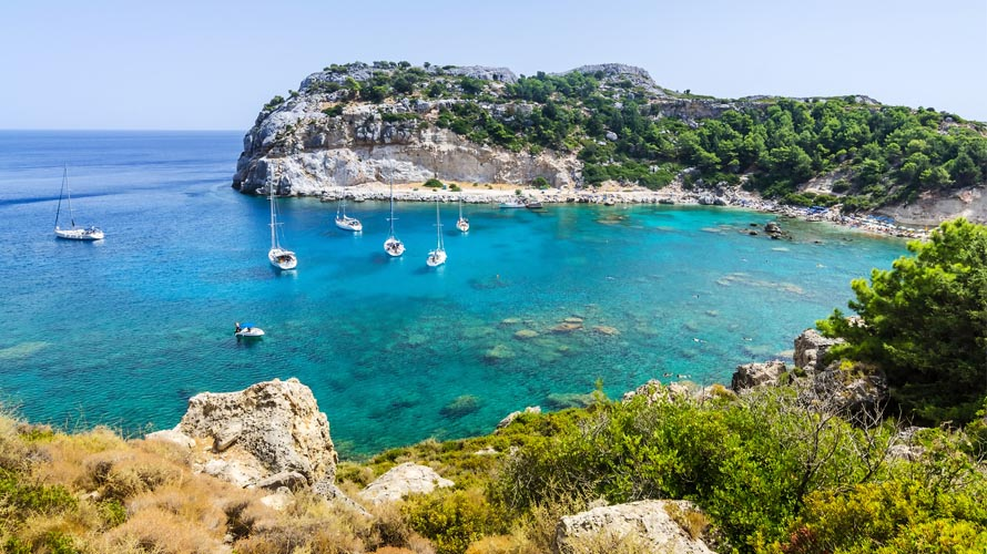 Sail in Greece, Yacht charter in Greece, Rhodes, Anthony Quinn Bay
